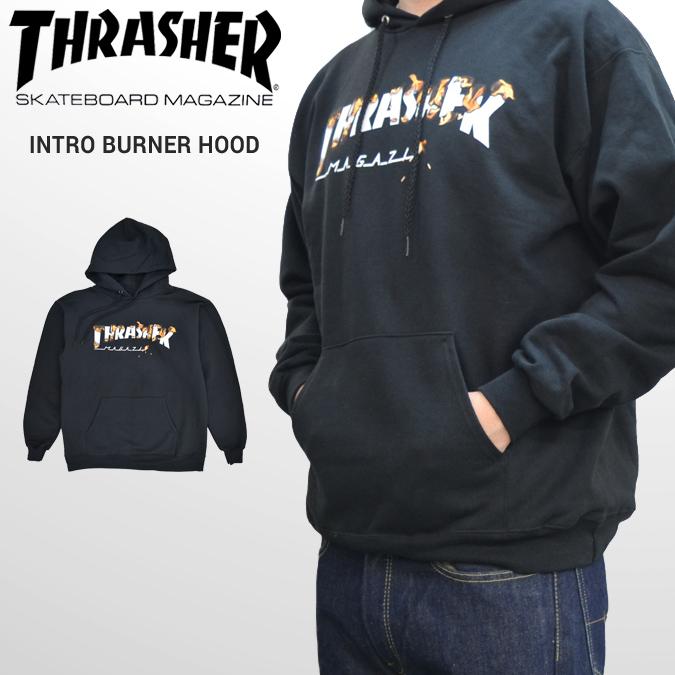 【割引クーポン配布中】 THRASHER (スラッシャー) INTRO BURNER HOOD SWEAT PARKA プルオーバー パーカー スウェット フリース 黒/ブラック S-XL ストリート メンズ 【あす楽対応】