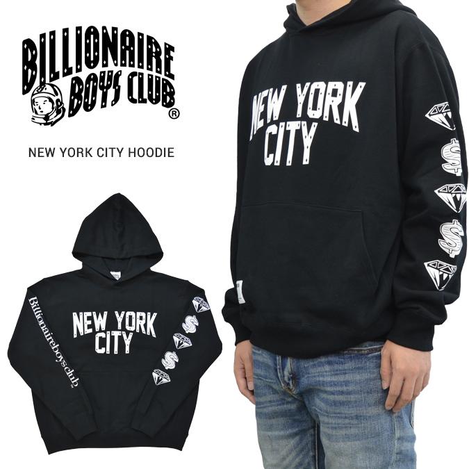 【割引クーポン配布中】 BILLIONAIRE BOYS CLUB (ビリオネアボーイズクラブ) パーカー NEW YORK CITY HOODIE フリース スウェット メンズ M-XL ブラック BBCJP193K001 【あす楽対応】【サマーセール】
