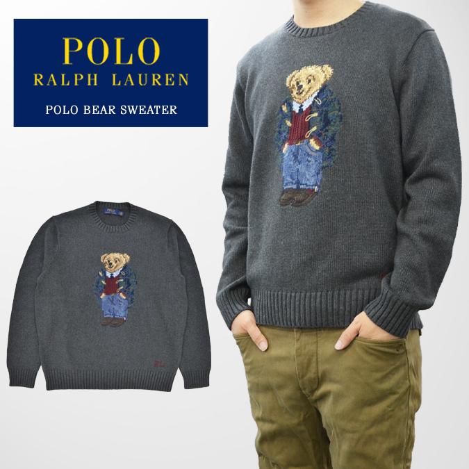 【割引クーポン配布中】 POLO Ralph Lauren ポロ ラルフローレン セーター POLO BEAR SWEATER ポロベアー ニット 長袖 カットソー メンズ M-XL グレー 【あす楽対応】