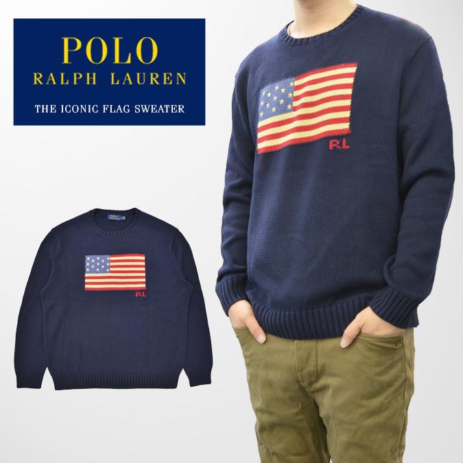 【割引クーポン配布中】 POLO Ralph Lauren ポロ ラルフローレン セーター THE ICONIC FLAG SWEATER ニット 長袖 カットソー メンズ M-XL ネイビー 【あす楽対応】