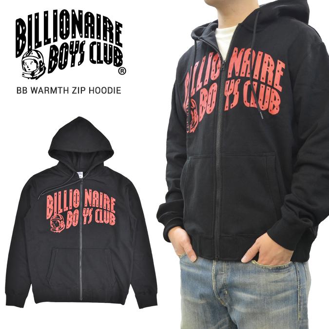 【割引クーポン配布中】 BILLIONAIRE BOYS CLUB (ビリオネアボーイズクラブ) パーカー BB WARMTH ZIP UP HOODIE ジップパーカー フリース スウェット メンズ M-XL ブラック 891-9300 【あす楽対応】【サマーセール】