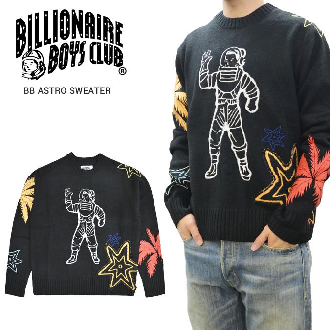 【割引クーポン配布中】 BILLIONAIRE BOYS CLUB (ビリオネアボーイズクラブ) セーター BB ASTRO CREWNECK SWEATER ニット メンズ M-XL ブラック 891-9500 【あす楽対応】【スプリングセール】