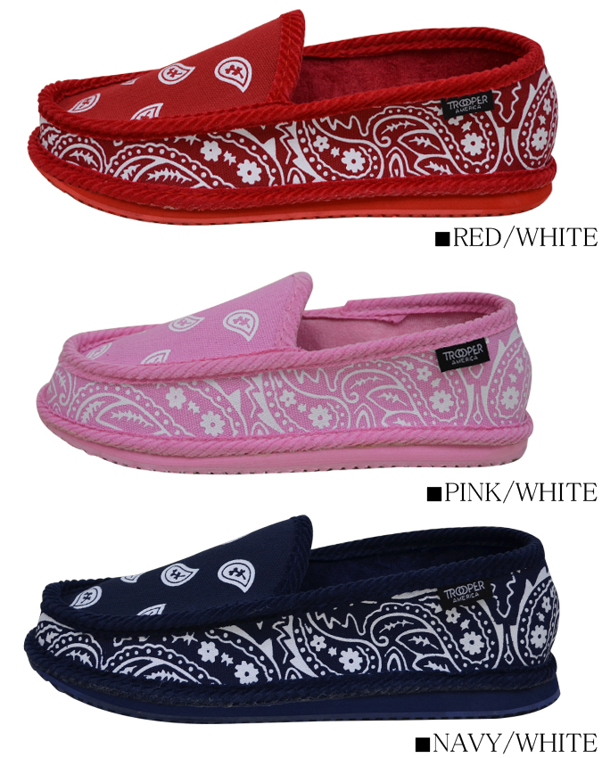 TROOPER AMERICA Sneakers Shoes true per SHOES Paisley pattern room shoes House shoes bandana pattern shoes slip on men's women's