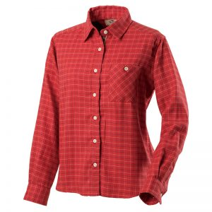 山晴社 タッターツイルシャツWs 女性用赤・青登山 アウトドア  日本製 ボタンダウンシャツ