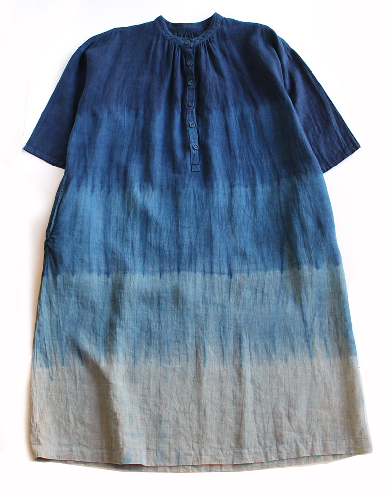 【送料無料】 【即日発送】 琉球藍染め グラデーション 前開き ギャザー 麻 リネン ワンピース
