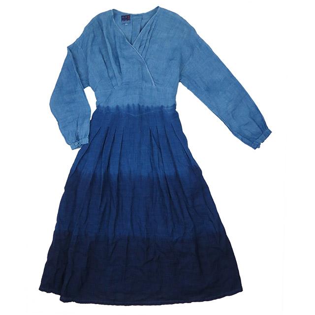 【送料無料】 琉球藍染め ウエストリボン ワンピース 長袖 タック 綿麻混紡 コットン リネン