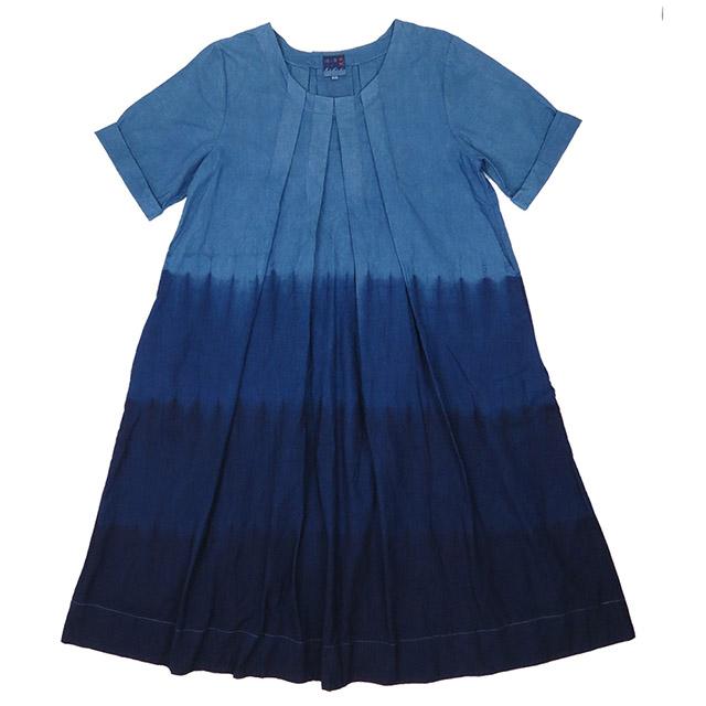 【送料無料】 琉球藍染め 半袖 タック Aライン ワンピース 綿麻混紡 コットン リネン