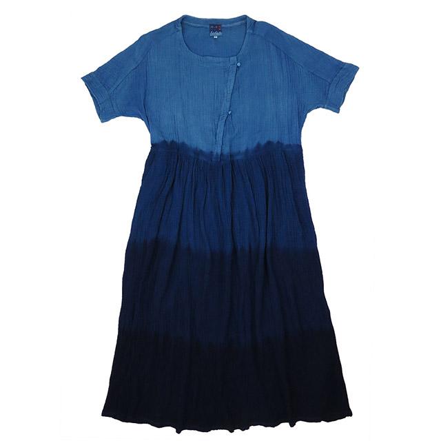 【送料無料】 琉球藍染め 半袖 ウエスト切替え ワンピース くるみボタン付き ガーゼ素材 コットン