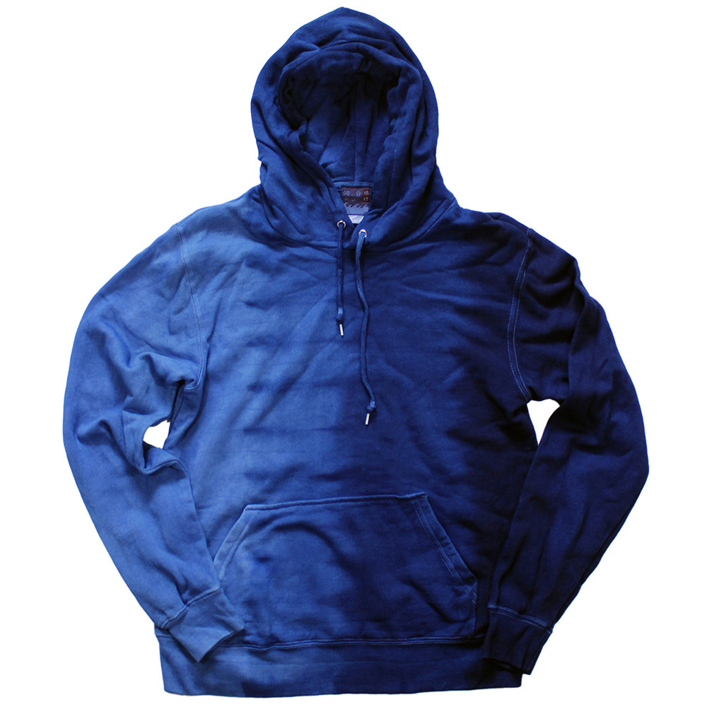 【送料無料】琉球藍染め パーカー付きプルオーバー たて段染め 長袖 男女兼用