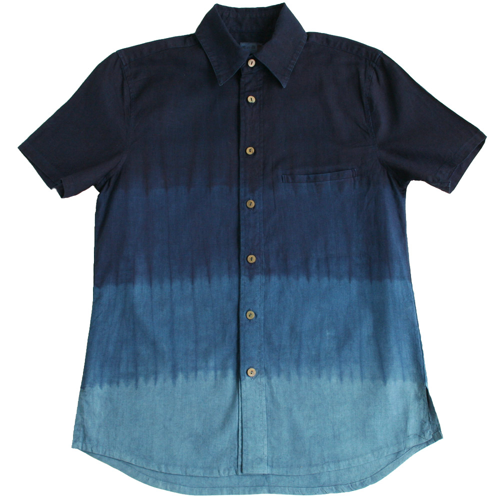 【送料無料】 【受注生産:5~6日後の発送】 琉球藍染め二重ガーゼ綿 コットン半袖開襟シャツ(グラデーション)