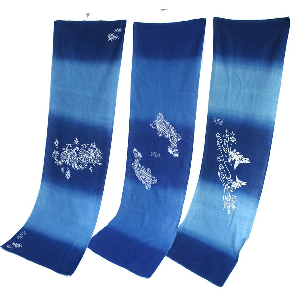 天然藍で染めた高級てぬぐいです 受注生産:5~6日後の発送 贈り物 てぬぐい 琉球藍染め 海外限定