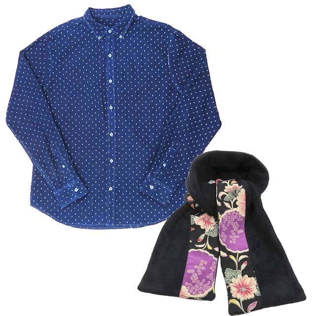 【送料無料】スプリング企画 琉球藍染め 長袖シャツ 無地染め 刺繍 ツリー柄 ちりめん切り替えマフラー セット