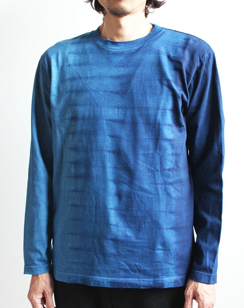 【即日発送】 琉球藍染め シンプル長袖Tシャツ 縦段染め 男女兼用