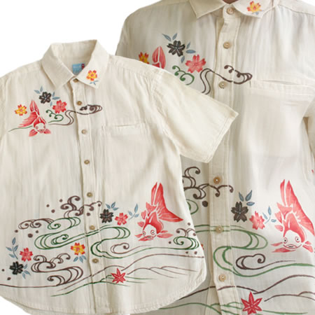 【送料無料】 【在庫限り】 手描き染め 二重ガーゼ 綿 コットン 半袖シャツ 金魚