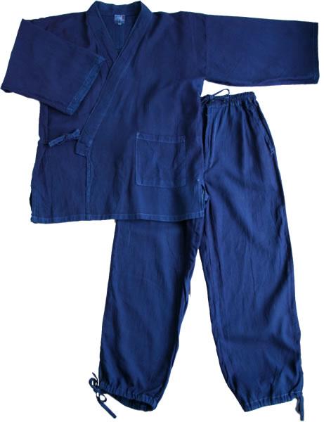 【送料無料】 【即日発送】 琉球藍染め 作務衣 本格手染めの逸品