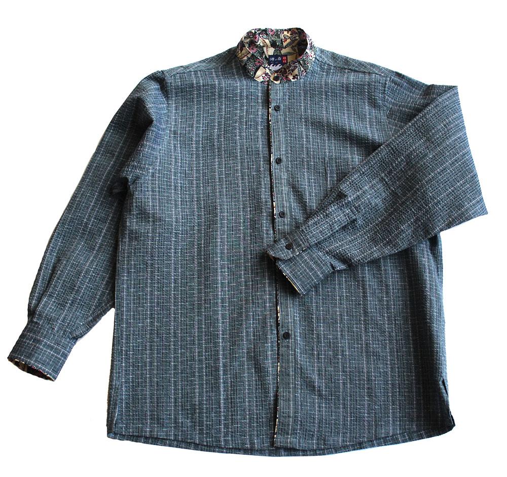 【送料無料】 【限定品】紅型×阿波正藍しじら織りかりゆし長袖シャツ(畳縞青)マオカラー