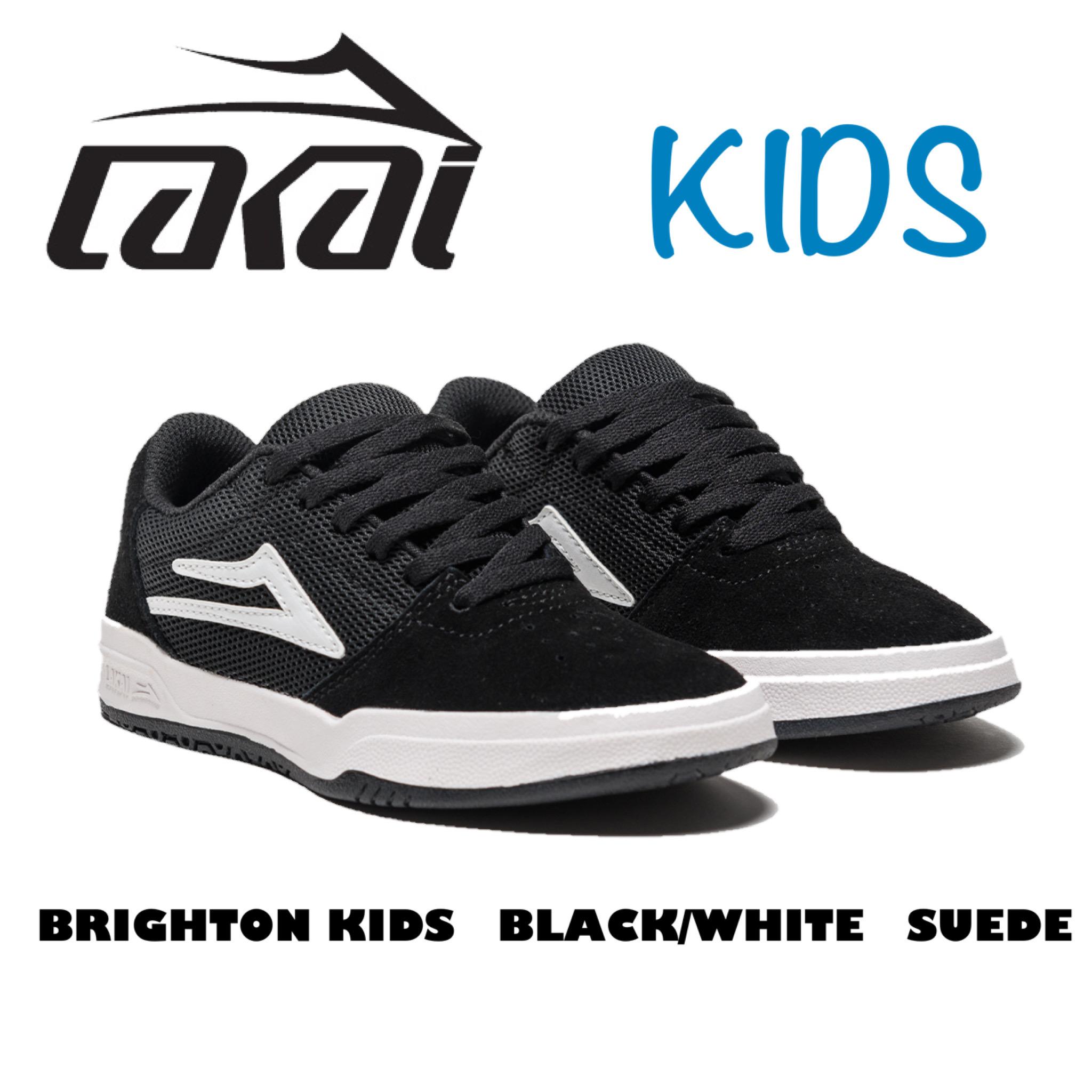 キッズモデル LAKAI BRIGHTON KIDS <セール&特集> BLACK WHITE SUEDE ラカイ 現品 ブライトンキッズ ブラック スエードスケートボードシューズ スケートシューズ キッズ ローカットくつ ホワイト スウェード スケボー スケシュー 靴