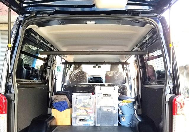 車内泊 脚立積載 職人棚 キャンプ用品など車内スペース活用 NV350 ブランド買うならブランドオフ キャラバン 車内キャリア まとめ買い特価 DX サイドバースライドバー2本セット