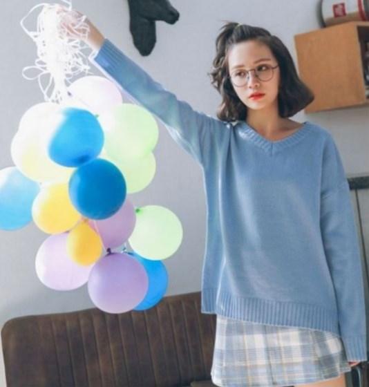 ニット Vネック 長袖 セーター パステルカラー 往復送料無料 シンプル ファッション 完売 レディース ブルー