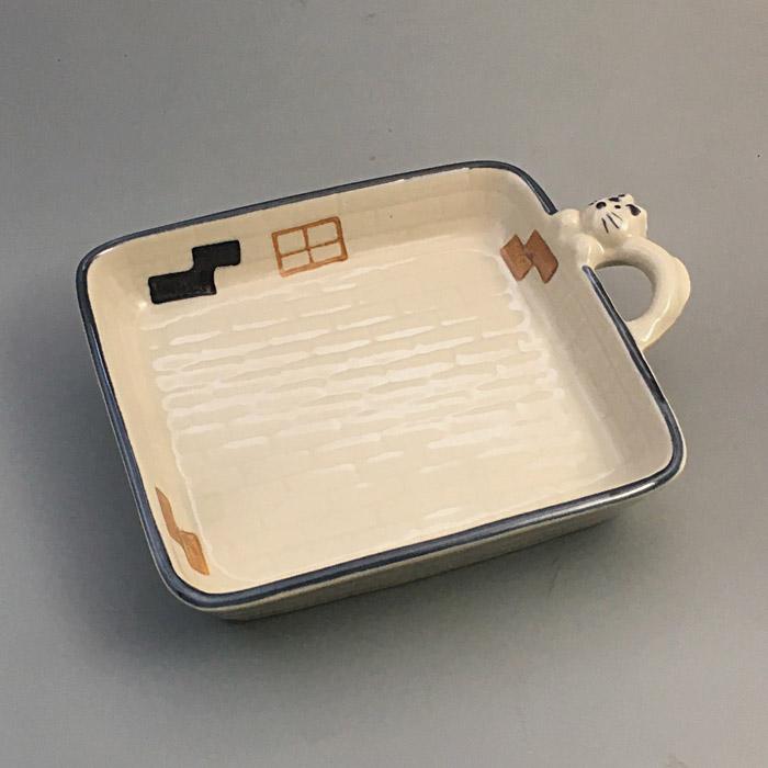 一つの器に一匹のねこが住んでいます 焼き物 ねこ ハウス 角 トレー 皿 25%OFF 陶器 日本製 和食器 かわいい 永遠の定番モデル 美濃焼