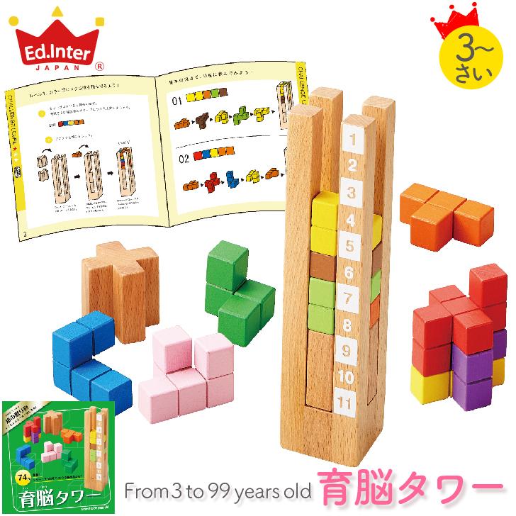 立体パズル 知育玩具 木製玩具 脳力パズル 育脳タワー 返品交換不可 エドインター 新色 知育パズル プレゼント