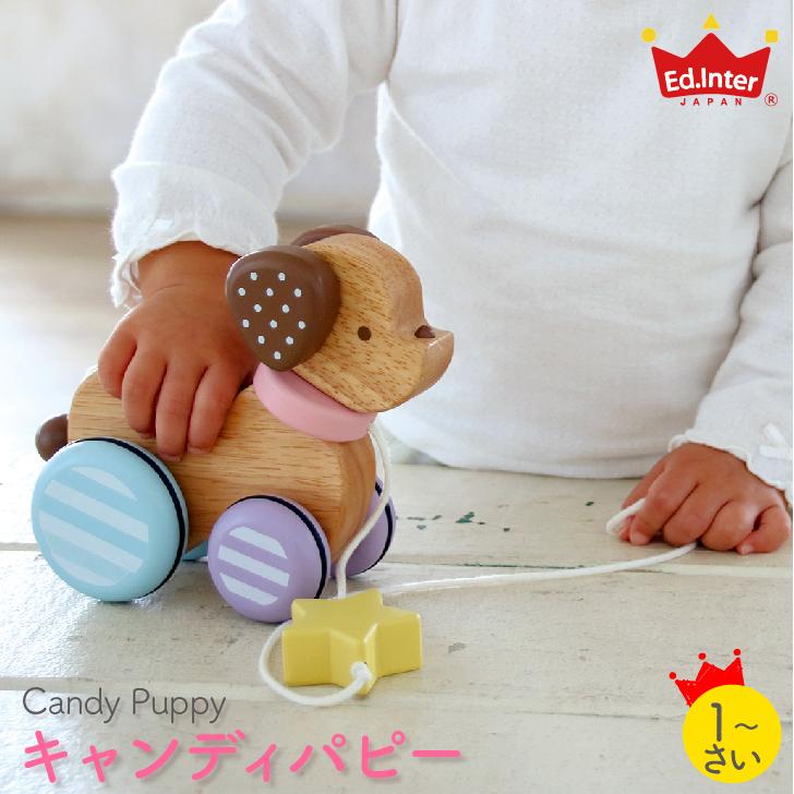 元気でキュートな仔犬のプルトイ ミルキートイ キャンディパピー Candy Puppy キャンディーパピー 木のおもちゃ エドインター 18%OFF MilkyToy 1才 プレゼントに最適 誕生日プレゼント プルトーイ プルトイ 人気 木製玩具 知育玩具