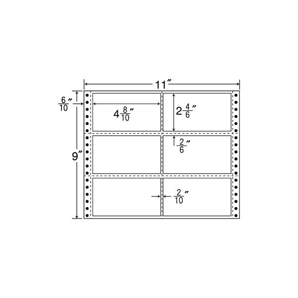 M11B(VP) ドットインパクト用 荷札・表示ラベル 連帳ラベル ナナフォーム プリンターラベル 連続帳票ラベル