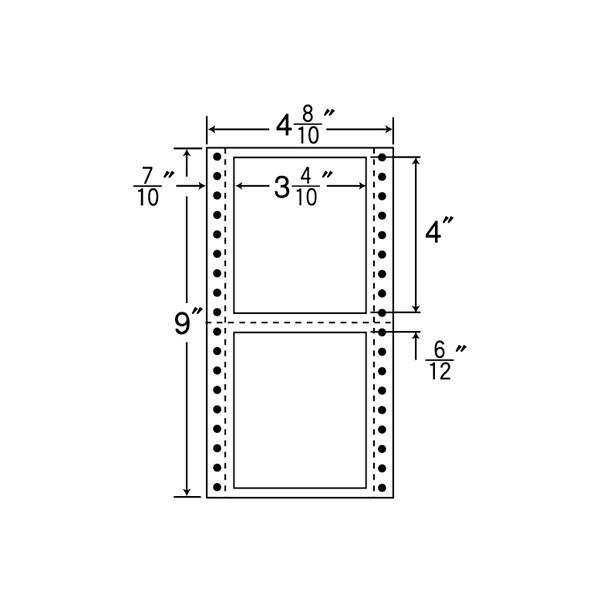MT4A(VP2) ナナフォーム ドットインパクトプリンタ用 東洋印刷連続ラベル 連帳ラベルMタイプ 剥離紙白 2000折 4インチ幅