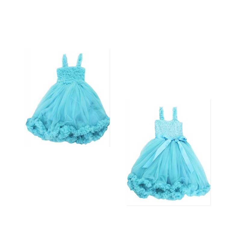 Ruffle Butts(ラッフルバッツ)アクア(ブルー)プリンセスドレス後ろにサテンリボンがついたワンピースセレモニードレス結婚式パーティーバースデーお誕生日会ベビーキッズ子供用ドレス