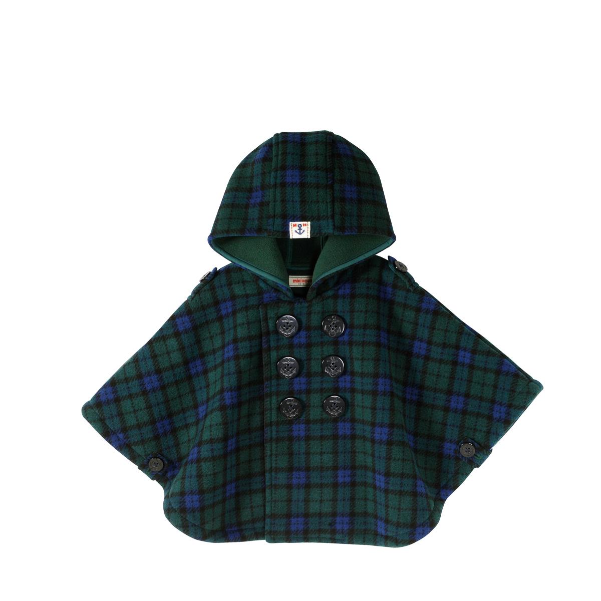 【ミキハウス】タータンチェック☆フリースマント〈フリー(70-90cm)〉(13-3801-974)[MIKIHOUSEのベビー服]日本製
