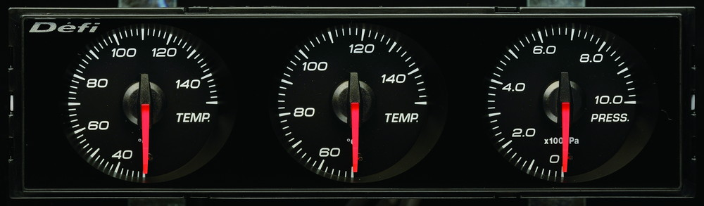 Defi(デフィ) DIN Gauge 3連メーター 白文字/赤指針 品番:DF14403
