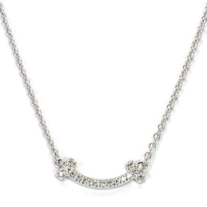 ティファニー TIFFANY ティファニーT スマイルペンダント ネックレス 62617802 K18ホワイトゴールド マイクロダイヤモンド