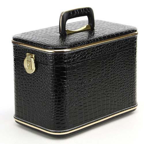 メイクボックス コスメボックス トレンケース 33cmサイズ クロコ型押 ブラック ミラー付き収納ボックス