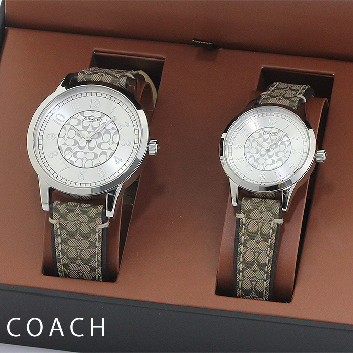 コーチ COACH クラシックシグネチャー Classic Signature 14000042 ペアウォッチ シルバー カーキシグネチャーベルト メンズ レディース 時計 ウォッチ