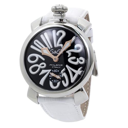 INT-29ガガミラノ 5010.06S 48mm メンズ ブラック/ホワイトレザー 時計/ウォッチ