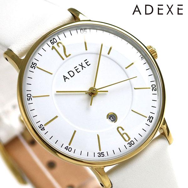 アデクス ADEXE プチ 33mm 革ベルト ユニセックス 腕時計 2043B-04 ホワイト 時計【あす楽対応】