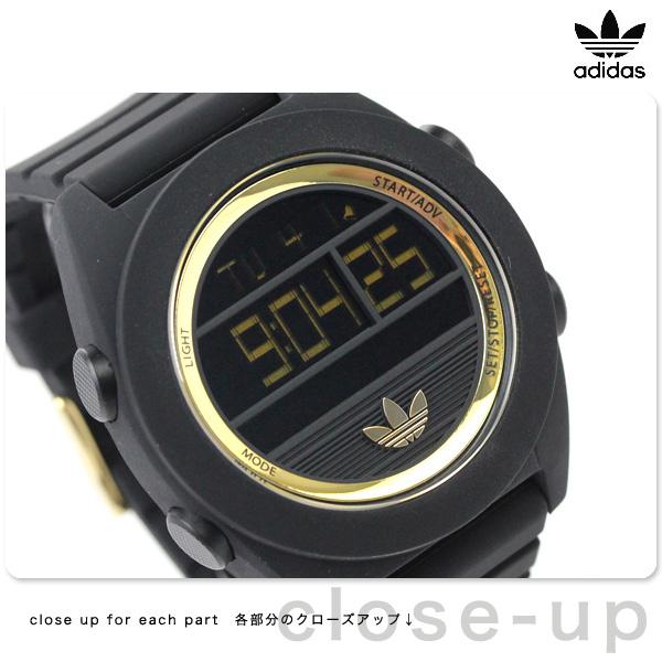 阿迪达斯圣地亚哥XL数码石英ADH2911 adidas手表全部黑色×黄金