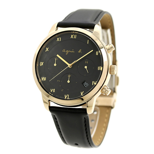 4e39d68f0f アニエスベー マルチェロ クロノグラフ ソーラー メンズ 腕時計 FBRD941 agnes b. ブラック 革ベルト 時計【