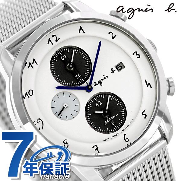 アニエスベー 時計 メンズ ソーラー クロノグラフ FBRD944 agnes b. マルチェロ ホワイト 腕時計