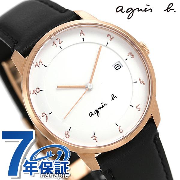 アニエスベー 時計 メンズ 日本製 FBRK998 agnes b. マルチェロ ホワイト×ブラック 革ベルト 腕時計【あす楽対応】