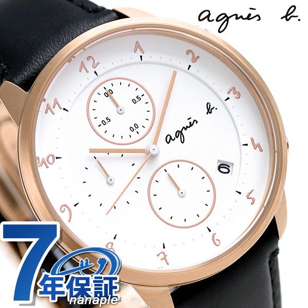 アニエスベー 時計 メンズ 日本製 クロノグラフ FBRW989 agnes b. マルチェロ ホワイト×ブラック