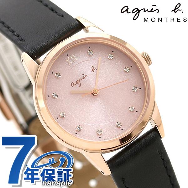 アニエスベー マルチェロ クリスマス 限定モデル レディース 腕時計 FBSD710 agnes b. ピンク×ブラック 革ベルト 時計【あす楽対応】