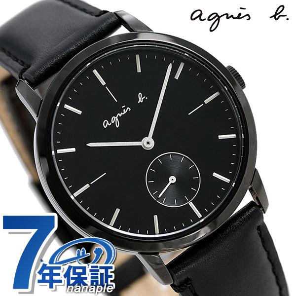 アニエスベー 時計 メンズ レディース FCRT969 agnes b. オールブラック 革ベルト 腕時計【あす楽対応】