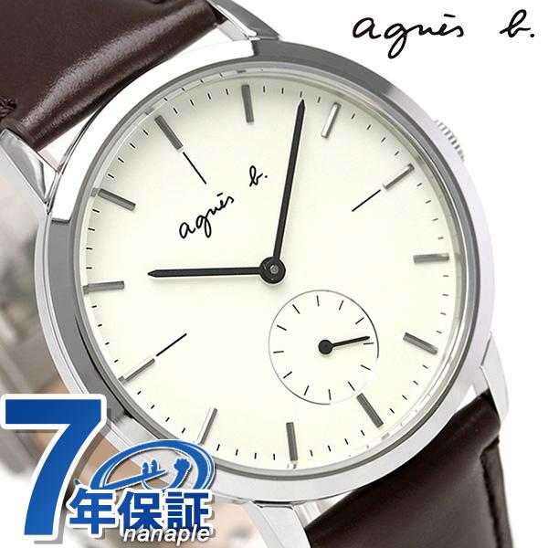 アニエスベー 時計 クオーツ スモールセコンド 革ベルト FCRT970 agnes b. アイボリー アニエス・ベー 腕時計【あす楽対応】