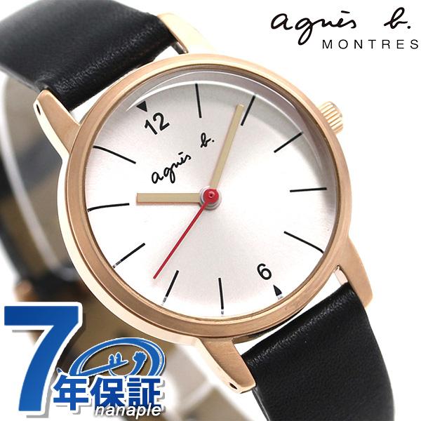 アニエスベー 時計 レディース FCSK944 agnes b. ピンクシルバー×ブラック 革ベルト 腕時計