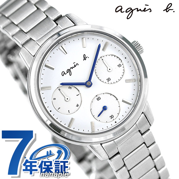 アニエスベー 時計 レディース カレンダー FCST991 agnes b. サム 32mm ホワイト 腕時計【あす楽対応】