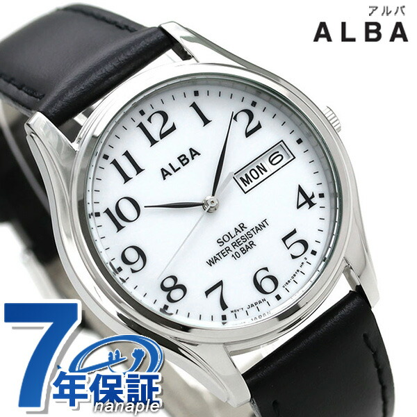 セイコー 豊富な品 SEIKO アルバ 正規品 新品 7年保証 送料無料 今ならポイント最大28.5倍 ソーラー ホワイト×ブラック ALBA あす楽対応 デイデイト 腕時計 メンズ 時計 供え AEFD543