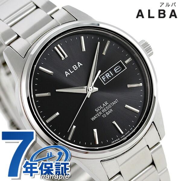 セイコー アルバ ソーラー 日本製 メンズ 腕時計 AEFD562 SEIKO ALBA ブラック 時計