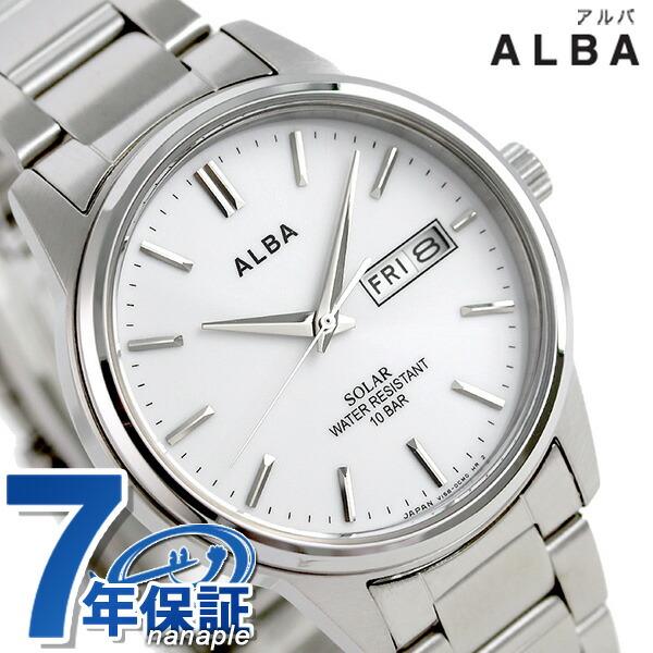 セイコー アルバ ソーラー 日本製 メンズ 腕時計 AEFD563 SEIKO ALBA ホワイト 時計
