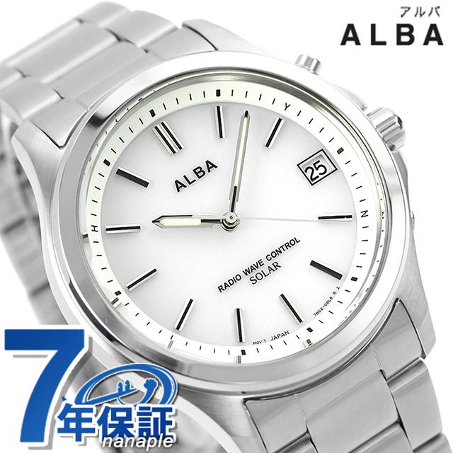セイコー アルバ 電波ソーラー メンズ 腕時計 AEFY504 SEIKO ALBA ホワイト 時計